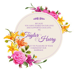 Vector watercolor lily rose flower wedding card