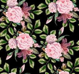 vector rose flower blossom leaf seamless pattern