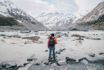 Canvas Prints New Zealand Tourist standing at the edge of Hooker glacier lake with the scenery view of Mt.Cook the highest mountains in New Zealand.
