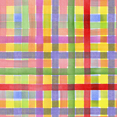 Striped, colorful, festive, vintage, checkered background. Watercolor. Illustration