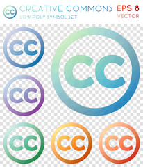 Creative commons geometric polygonal icons. Amusing mosaic style symbol collection. Glamorous low poly style. Modern design. Creative commons icons set for infographics or presentation.