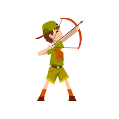 Boy scout character in uniform bow and an arrow, outdoor adventures and survival activity in camping vector Illustration on a white background