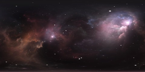 Space background with nebula and stars. Panorama, environment 360 HDRI map. Equirectangular projection, spherical panorama.