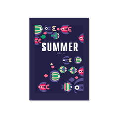 Summer tropical banner template, trendy seasonal blue background with sea or ocean fish for poster, flayer, postcard, cover, brochure, prints, invitation vector Illustration