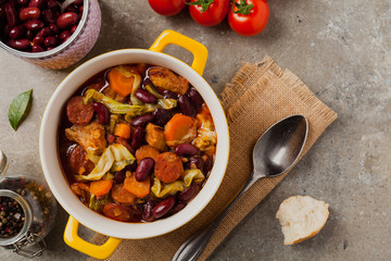 Traditional portuguese goulash with cabbage, beans and ribs.