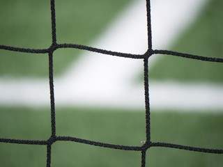 Goal a soccer net with green grass field. Detail of bound strings