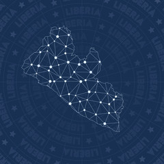 Liberia network, constellation style country map. Popular space style, modern design. Liberia network map for infographics or presentation.