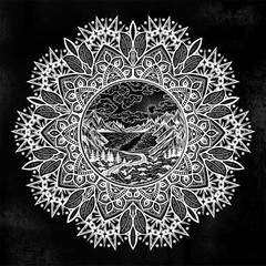 Mandala round artwork with landscape scene with a lake, road, pine forest and mountains.