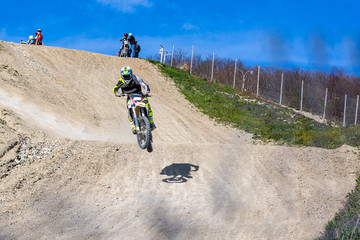 Dirt bike rider is flying high