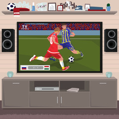 Viewing soccer game at home on big TV. Interior room of a football fan. Realistic cartoon style
