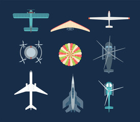 Aircraft - set of modern vector elements