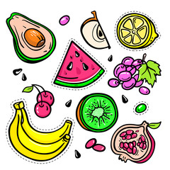 Fruits - vector isolated retro stickers set