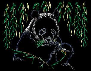 Panda eats leaves