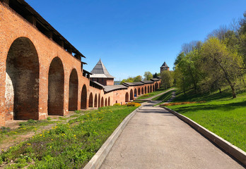 The territory of Nizhny Novgorod Kremlin. View on Borisoglebskaya Tower and the Kremlin red wall at summer