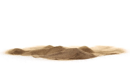 Desert sand isolated on white background and texture, with clipping path