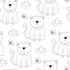 Seamless pattern with cute little cat. vector illustration