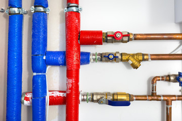 Cooper pipes of gas heating system in the boiler room