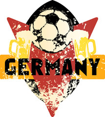 Soccer / Football fictional grungy emblem with soccer ball and beer,germany, vector illustration