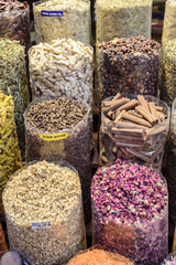 Colorful spices set out in a traditional Arabian Souk. The soul is located in Dubai, in the Middle East