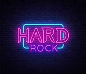 Hard Rock Neon Sign Vector Illustration. Design template neon signboard on Rock Music, Light banner, Bright Night Advertising. Vector