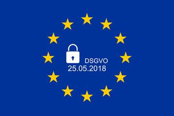 Europaflagge mit Text DSGVO und 25.05.2018