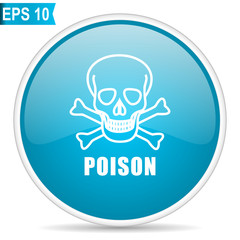 Blue glossy poison skull vector icon isolated on white background