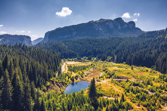 Beautiful landscape of Carpathian Mountains in Bucegi, Bolboci, Sinaia, Romania
