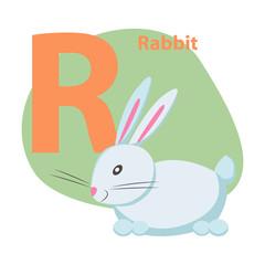 Zoo ABC Letter with Cute Rabbit Cartoon Vector