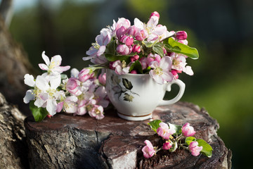 bouquet of flowers in a mug, a pink blossoming apple tree