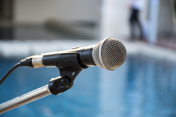 Old microphone with blurred background, Outdoor banquet