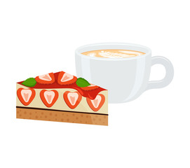 Latte in Cup and Cake Poster Vector Illustration
