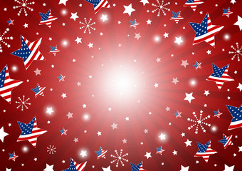 USA background design of america flag in star and fireworks vector illustration
