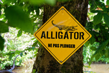 Panneau danger Crocodile