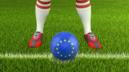 Man and soccer ball with European Union flag