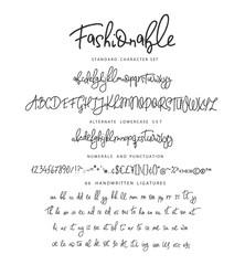 Handrawn vector alphabet. Letter for script font.