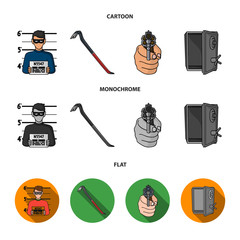 Photo of criminal, scrap, open safe, directional gun.Crime set collection icons in cartoon,flat,monochrome style vector symbol stock illustration web.