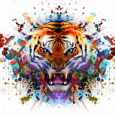 Красочный рисованной мордой льва, абстрактный красочный фон
