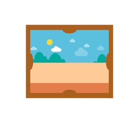 Picture with Sunny Weather Vector Illustration