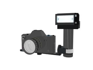 Fotoapparat mit angeschlossenem Stabblitz