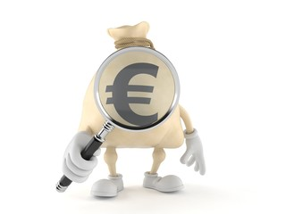 Euro money bag character looking through magnifying glass