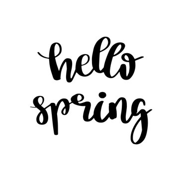 Hand lettered inspirational quote 'Spring is in the air