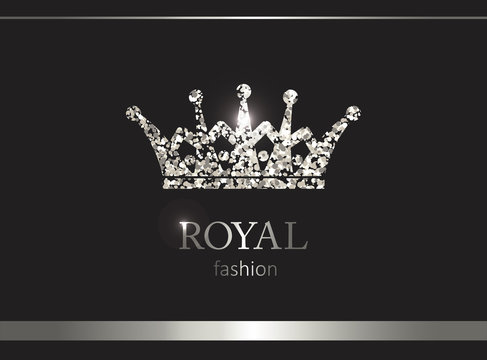 Silver crown. Luxury label, emblem or packing. Logo design.