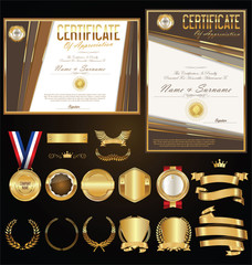 Collection of certificate badges labels shields and laurels