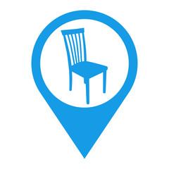 Icono plano localizacion silueta silla azul