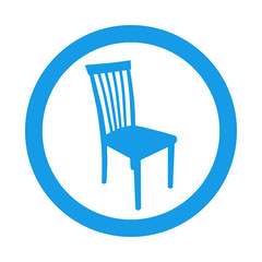 Icono plano silueta silla en circulo color azul