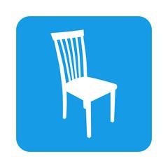 Icono plano silueta silla en cuadrado azul
