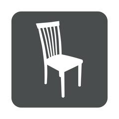 Icono plano silueta silla en cuadrado gris