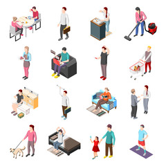 Life Of Ordinary People Isometric Icons