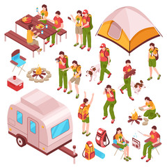 Picnic Barbecue Isometric Icons