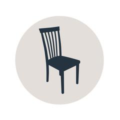 Icono plano silueta silla en circulo gris